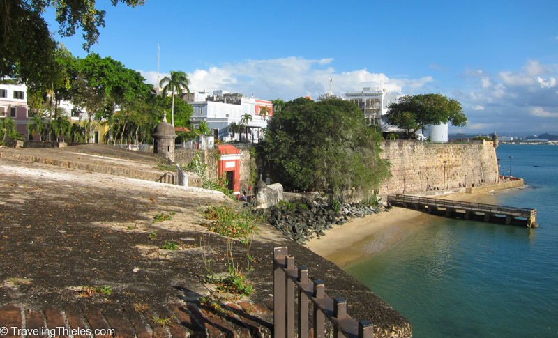 The old san juan is surrounded by high fortress walls and neat turrets