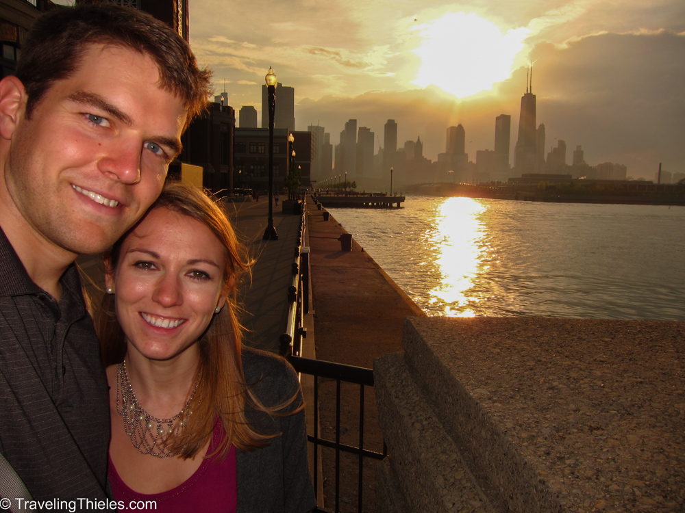 Us at navy pier - great view of the city!  Only took us about 30 tries to get this picture right (I have a big head and I can only stretch my arm out so far for a selfie to include Elisa and a whole skyline).